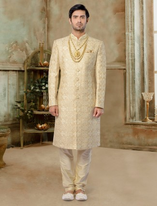 Stylish fawn silk sherwani for groom