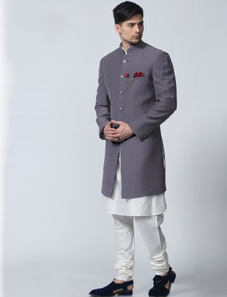 Stylish grey white silk indo western