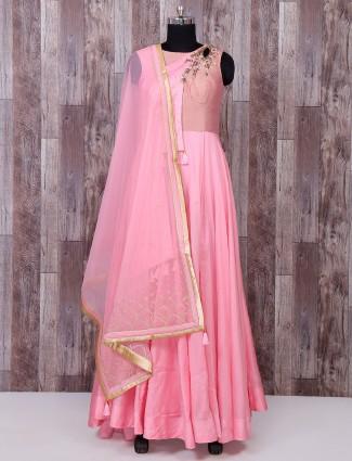 Stylish pink silk anarkkali suit
