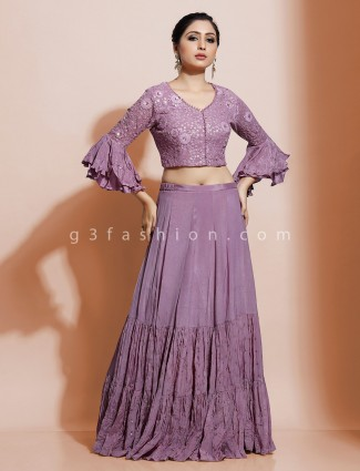 Stylish purple lehenga top for party in georgette