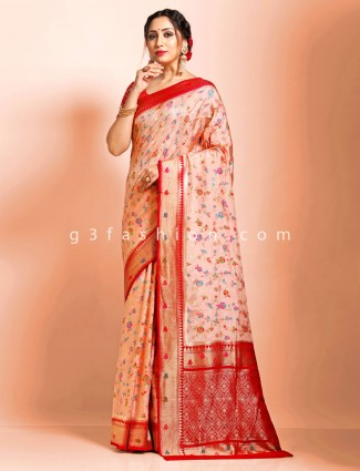 Supar fine dola silk traditional wear peach wedding saree
