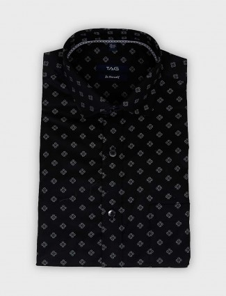 TAG black printed slim fit cotton shirt