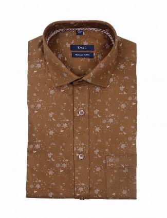 TAG brown color printed mens shirt