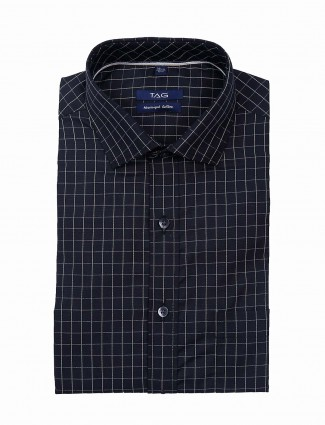 TAG checks pattern mens black shirt