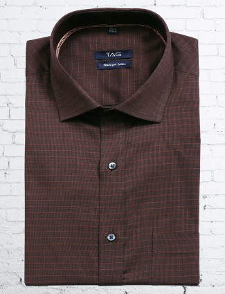 TAG cotton brown checks shirt