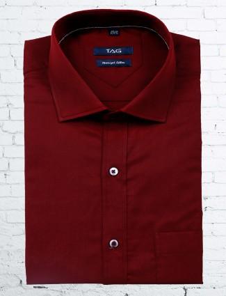 TAG cotton maroon color shirt