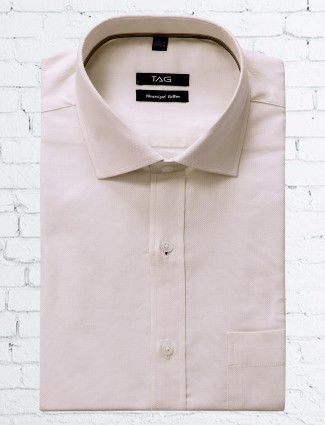 TAG formal white color solid shirt