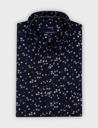 TAG leaf printed navy color mens shirt