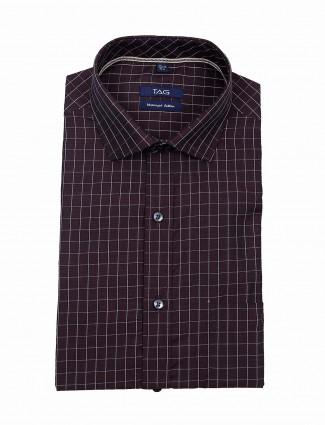 TAG maroon checks slim fit shirt