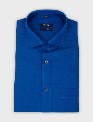 TAG solid royal blue slim fit shirt