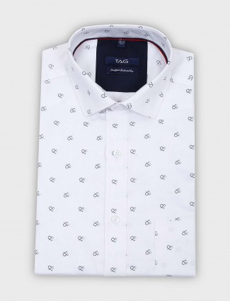 TAG white printed cut away collar shirt