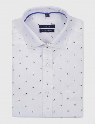 TAG white printed formal slim fit shirt