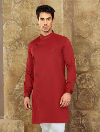 Tamatto red color cotton short pathani