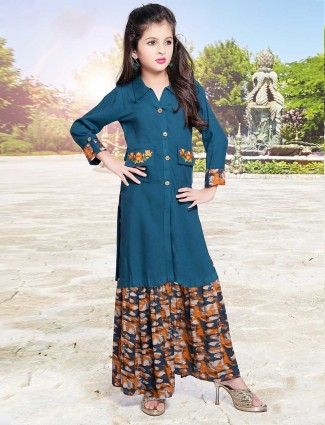 Teal blue cotton fabric palazzo suit