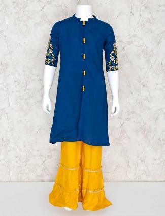 Teal blue cotton palazzo suit