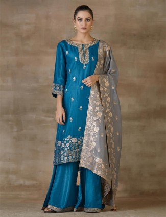 Teal Blue Designer Sharara Salwar Suit For Festivals In Cotton Silk