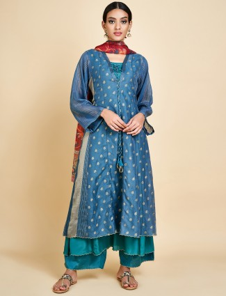 Teal blue raw silk double layer salwar suit