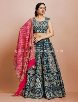 Teal blue silk round neck lehenga choli