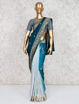 Teal green and blue half and half saree