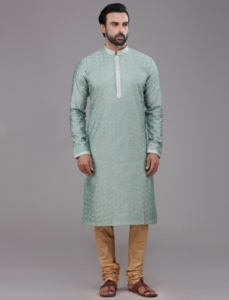Teal green chanderi silk kurta suit