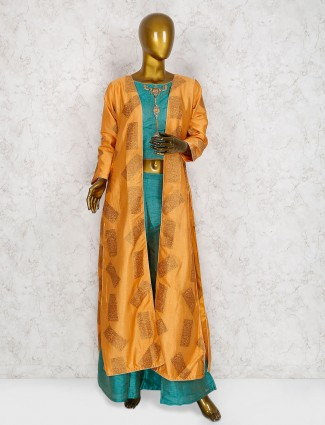Teal green cotton silk punjabi palazzo suit with shrug