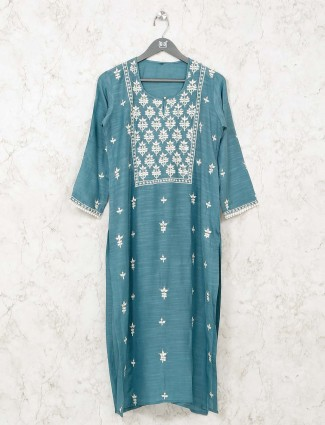 Teal green cotton tunic in casual