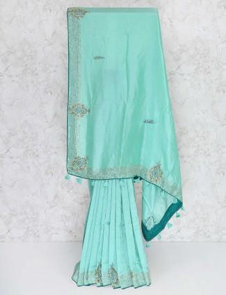 Teal green festive saree