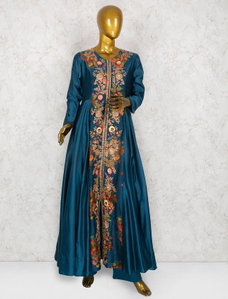 Teal green floor length anarkali suit