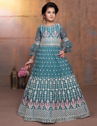 Teal green net floor length designer anarkali suit