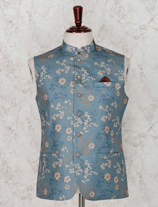 Teal green printed terry rayon waistcoat