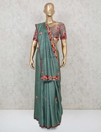 Teal green resham work handloom cotton saree