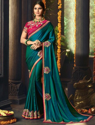 Teal green satin saree