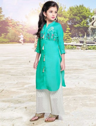 Teal green silk festive palazzo suit for little girls