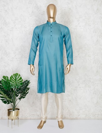 Teal green solid cotton festive wear mens kurta suit