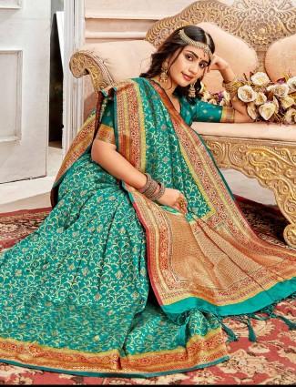 Teal green wedding saree in banarasi silk