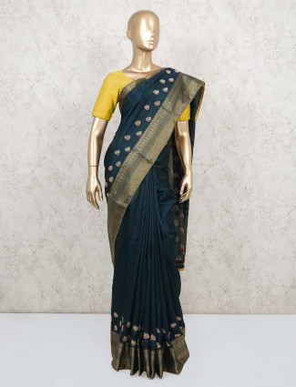 Teal green wedding saree in dola silk