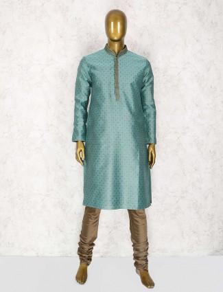 Teal green wedding wear kurta suit