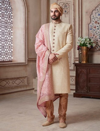 Terry rayon beige lakhnavi thread groom sherwani