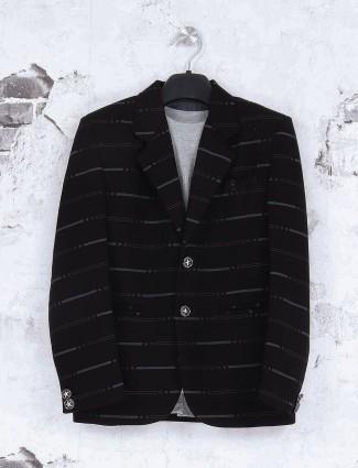 Terry rayon black blazer for boys