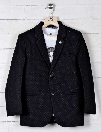 Terry rayon black blazer with t-shirt