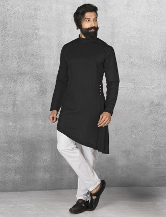 Terry rayon black kurta suit