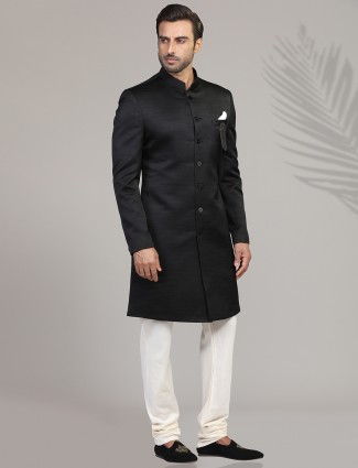 Terry rayon black mens indo western