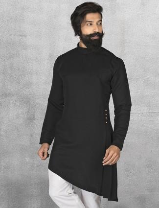 Terry rayon black short pathani