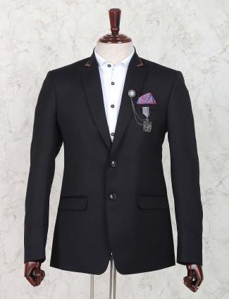 Terry rayon black solid blazer