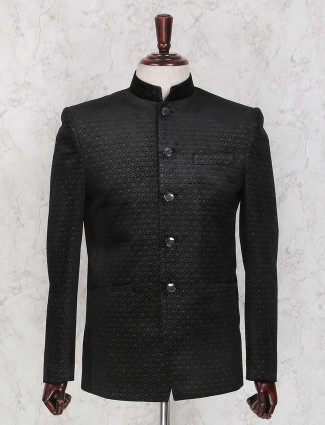 Terry rayon black textured jodhpuri suit