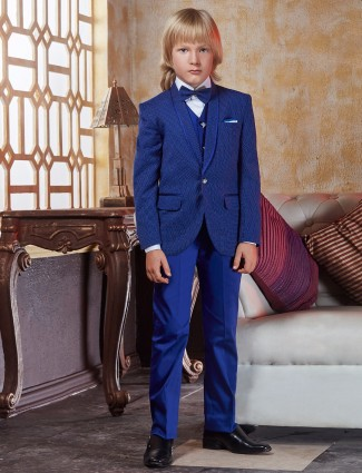 Terry rayon blue coat suit
