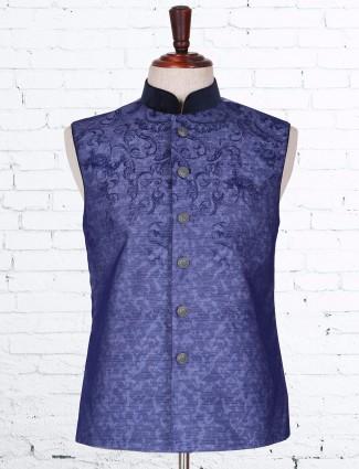 Terry rayon blue dressy waistcoat
