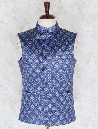 Terry rayon blue hued printed waistcoat