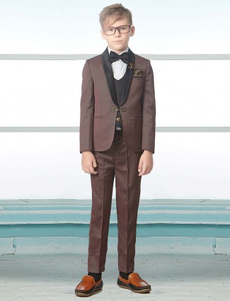 Terry rayon brown hue three piece tuxedo suit