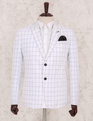 Terry rayon checked white blazer